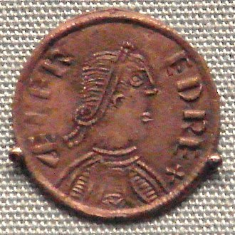 "Alfred the Great - A coin of Alfred, king of Wessex, London, 880 (based upon a Roman model). Obv: King with royal band in profile, with legend: ÆLFRED REX ""King Ælfred"""
