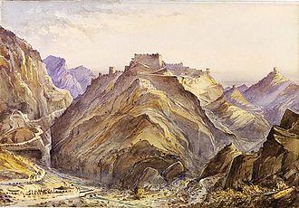 Ali Masjid - The fort of Ali Masjid (watercolour of 1890)