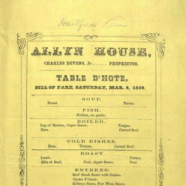 Allyn House restaurant menu (March 5, 1859)