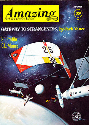 "Jack Vance - Vance's novella ""Gateway to Strangeness"" was the cover story in the August 1962 issue of Amazing Stories, illustrated by Alex Schomburg. Under the title ""Dust of Far Suns"", it became the title piece in a Vance story collection in 1981"