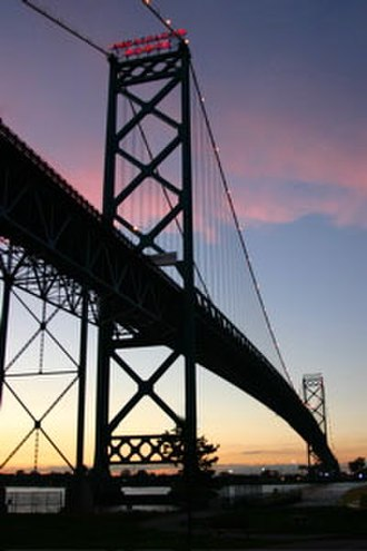 Transportation in Canada - Ambassador Bridge between Windsor, Ontario and Detroit, Michigan has a quarter of US-Canada trade cross over it.