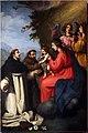 Ambito di jacopo vignali, madonna col bambino che dà il rosario ai ss. domenico a francesco, xvii secolo.jpg