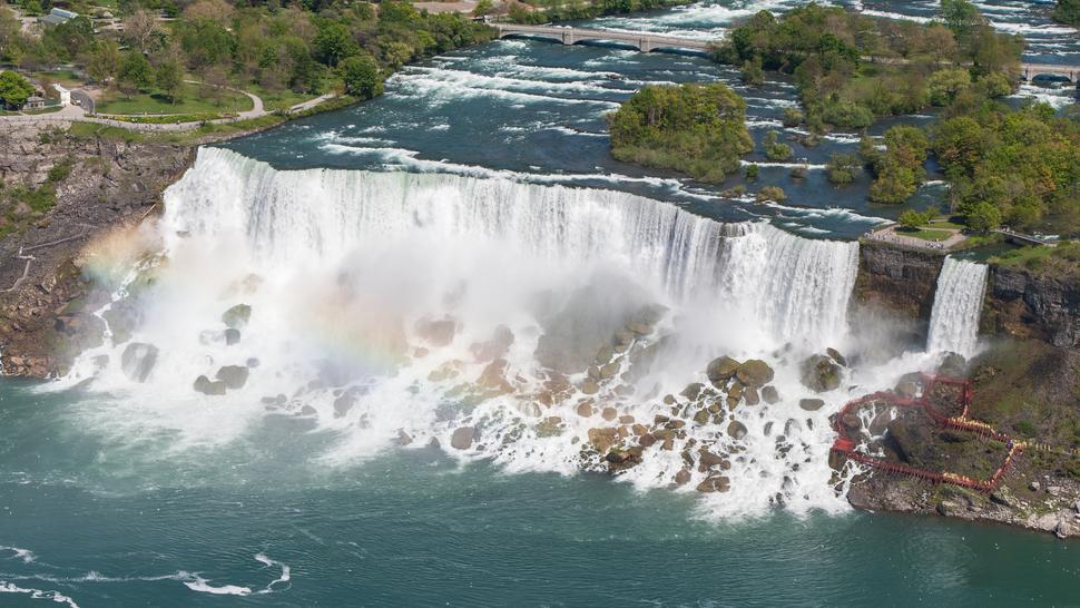 American Falls Niagara Falls USA from Skylon Tower on 2002-05-28