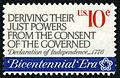 American Revolution Bicentennial Deriving Their Just Powers... 10c 1974 issue U.S. stamp.jpg