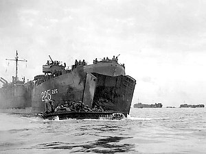 Amphibious trac coming out of an LST - Peleliu beach.jpg