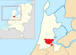 Highlighted position of Amsterdam in a municipal map of North Holland