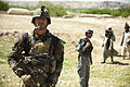 An Afghan National Army special forces soldier returns from a mission in which he helped Afghan Local Police members (ALP) build a checkpoint April 3, 2013, in Helmand province, Afghanistan 130403-M-BO337-221.jpg