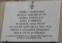 Photo of Andrei Tarkovsky marble plaque