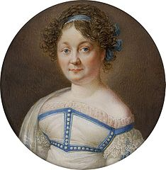 Miniature of a woman with hair curled a la grecque.