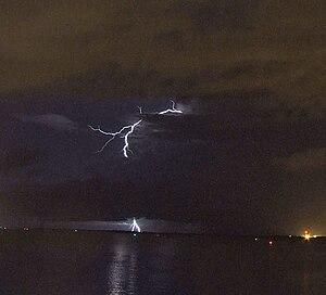 Lightning strikes southwest of Darwin, NT, Aus...