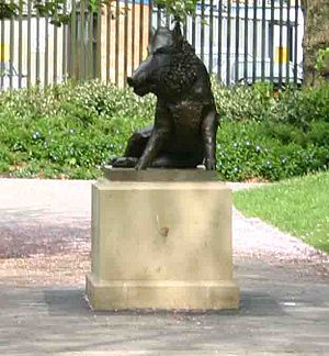 Derby Arboretum - The new bronze copy of the Florentine Boar, by Alex Paxton. This statue replaces the one destroyed in 1941