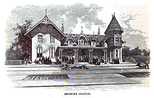 Ardmore, Pennsylvania - Drawing of Ardmore train station c. 1875