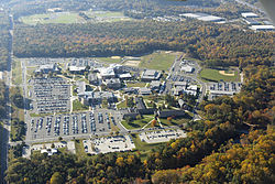 Aerial view of the main campus of Camden County College in Blackwood