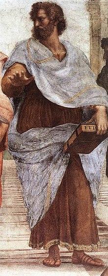 Aristoteles, seine Ethik haltend. Detail aus dem Fresko Die Schule von Athen von Raffael (1510–1511) (Quelle: Wikimedia)