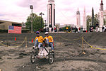 Arizona State navigates crater in the Great Moonbuggy Race 1999.jpg