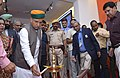 """Arjun Ram Meghwal lighting the lamp to inaugurate the exhibition of """"New India- We Resolve to Make"""", organised by the Ministry of Parliamentary Affairs, DAVP and BPCL, in Jaipur, Rajasthan.jpg"""