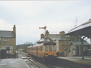 Knaresborough railway station - British Rail Class 141 arriving at the station in 1992.