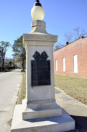 Selma, Alabama in the American Civil War - Arsenal Place Memorial, erected in 1931 by the United Daughters of the Confederacy to recognize the location of the Confederate ordnance works destroyed by the Union Army on April 6, 1865
