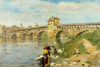 Mario Acerbi (painter) - Il Ponte Vecchio con lavandaie, 1925–30 (Art collections of Fondazione Cariplo)