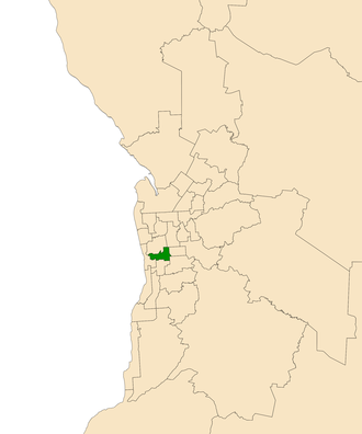Electoral district of Ashford - Electoral district of Ashford (green) in the Greater Adelaide area