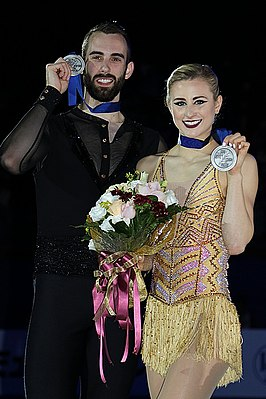 Ashley Cain and Timothy LeDuc at the 2018 Four Continents Championships - Awarding ceremony.jpg