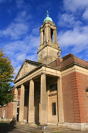 Ashlyns School - The Neoclassical portico and clock tower of Ashlyns School chapel