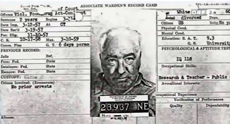 Associate Warden's Record Card for Wilhelm Reich