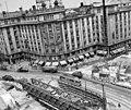 Astoria kereszteződés, metróépítés. Balra az MTA lakóház, előtérben az aluljáró építésénél felhasznált Zagyva híd. Fortepan 18775.jpg