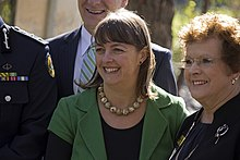Attorney-General of Australia and Emergency Management Minister, Nicola Roxon and Deputy Mayor of Wagga Wagga, Councillor Yvonne Braid.jpg