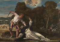 Attributed to Bernardino da Asola - The Death of Saint Peter Martyr - Google Art Project.jpg