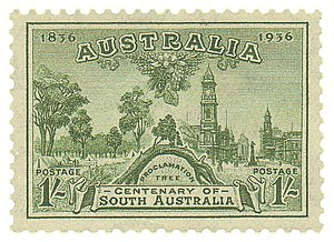 The Old Gum Tree - Postage stamp, Australia, 1936