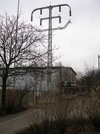 History of electric power transmission - The first 110 kV transmission line in Europe was built around 1912 between Lauchhammer and Riesa, German Empire. Original pole.