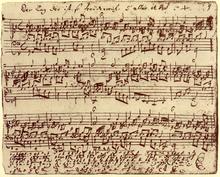 Der Tag der ist so freudenreich, BWV605, aus dem Orgelbüchlein, nicht später als 1713, obligate Pedalstimme im zweiten System, am unteren Rand Fortsetzung als Orgeltabulatur (Quelle: Wikimedia)