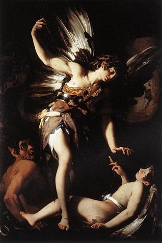 Chiaroscuro - Giovanni Baglione. Sacred and Profane Love. 1602–1603, showing dramatic compositional chiaroscuro