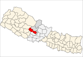 Baglung District i Dhawalagiri Zone (grå) i Western Development Region (grå + lysegrå)