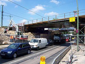 Berlin-Karlshorst station - Demolition work at the railroad overpass of Treskowallee, 2012