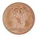 Baksida av medalj med bild av två bevingade amoriner - Skoklosters slott - 99299.tif