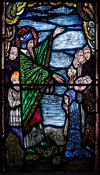 File:Ballinasloe St. Michael's Church South Aisle Fifth Window Sts Patrick and Rose of Lima by Harry Clarke Detail Patrick Preaching to His Disciples 2010 09 15.jpg