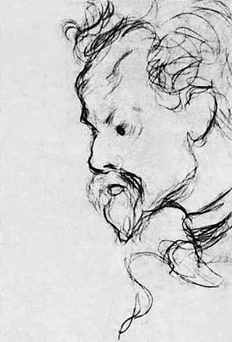 К.Д.Бальмонт. Рисунок М.А.Волошина. 1900-е годы