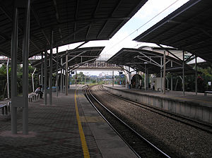 Bandar Tasik Selatan station - A platform view, northbound, of the Bandar Tasik Selatan KTM Komuter halt after canopy upgrades.