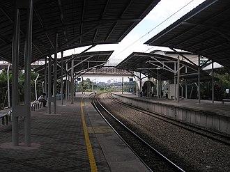 Bandar Tasik Selatan station - A platform view, northbound, of the Bandar Tasik Selatan KTM Komuter halt after canopy upgrades.