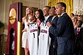 Barack Obama with UConn men's and women's 2014 NCAA basketball champions 2014-06-09.jpg
