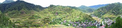 Panoramic photo of Barlig and surrounding rice terraces, summer 2006.