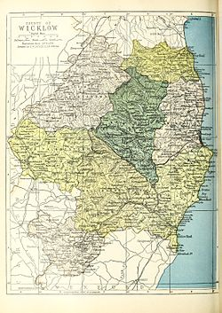 Baronies of County Wicklow. Arklow is in the southeast.