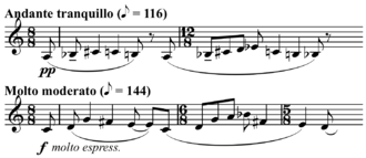 Multiplication (music) - Image: Bartok Music for Strings, Percussion and Celesta interval expansion