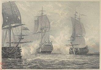 Action of 6 July 1746 - Image: Bataille navale de Négapatam en 1746