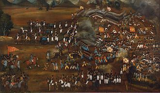 Battle of Sultanabad - This painting once decorated the Abbas Mirza's palace. Depicted on this huge canvas is the defeat of the Russian Trinity Infantry Regiment in the battle near Sultanabad, which took place on 13 February 1812. Persian soldiers wearing European uniforms and bearing Persian banners, on which a lion holds a sabre in its paw against a background of the rising sun.