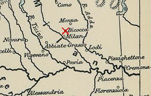 Battle of Bicocca - Lombardy in 1522. The location of the battle is marked.