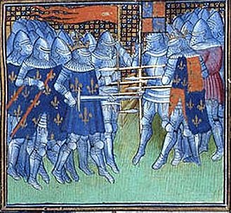 Oriflamme - The Battle of Poitiers 1356. The oriflamme can be seen on the top left.