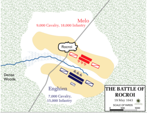 Battle of Rocroi - Map of the troop dispositions